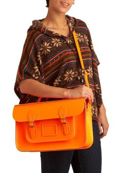 Upwardly Mobile Satchel in Neon Orange - 15"