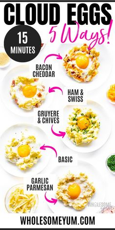 Learn how to make cloud eggs in just 15 minutes! This easy, fluffy cloud eggs recipe needs just eggs, salt & pepper, plus 5 irresistable variations to try for eggs in a cloud. #wholesomeyum Egg Recipes, Brunch Recipes, Low Carb Recipes, Real Food Recipes, Diet Recipes, Breakfast Recipes, Healthy Recipes, Fast Low Carb, Low Carb Keto