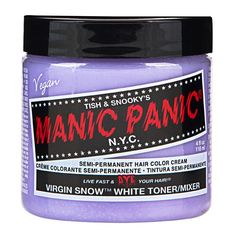 Manic Panic Virgin Snow  Virgin Snow is Manic Panic's white toner, you can use it on your hair after bleaching to get a really white colour. Virgin snow looks great on it's own or as a base for other dyes, it's particularly good for using before pale colours.