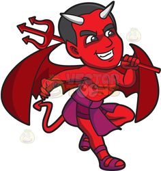 A happy red devil : A red devil with black hair pointed ears fangs and horns coming out of his forehead wide red wings and pointed tail wearing a violet loin cloth and gladiator sandals grins while carrying a red trident in his left hand The post A happy red devil appeared first on VectorToons.com. Pointed Ears, Lion Art, Halloween Signs, Trident, Vector Illustrations, Gotham, Gladiator Sandals, Horns, Devil