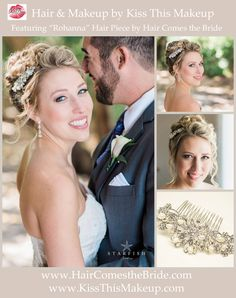 """Beach Bride Bridal soft updo hair and makeup by Kiss This Makeup featuring """"Rohanna"""" rhinestone and freshwater pearl hair comb by Hair Comes the Bride"""