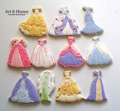 Disney princess dress cookies