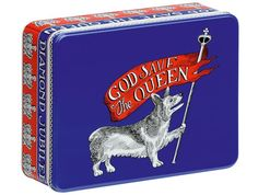 "Jubilee Box  Commemorative red-white-and-blue metal tin with a yapping corgi waving a Royal flag reading, ""God Save the Queen""? Not exactly sure what we'll put in it, but we like it. At Liberty for £25."