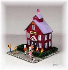 Little Red School House for Diorama Free Paper Model Download