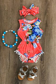 498a0fee1c5f Baby Clothing Coral Floral Pom Pom Romper Baby ClothingSource : Coral Floral  Pom Pom Romper by