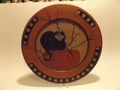 wood folk art halloween plate cat and pumpkin by joni martin hearthside collec - Halloween Ceramic Plates