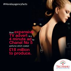#Mondayagencyfacts The #TV #advert premiered on USA television on 11 November 2004. And #NicoleKidman was given a fee of $3.7 million!! #MostexpensiveTVad