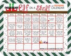 EXTREME Elf on the Shelf 2014 Calendar