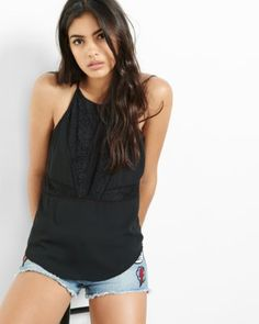 High neck lace hi lo cami