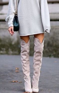 obsessed with the grey tone-on-tone look of these over the knee boots and sweater dress