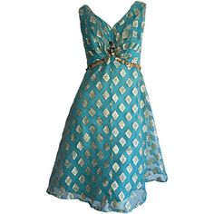 Pre-owned Beautiful 1960s 60s Aqua Blue + Gold A - Line Babydoll Dress... ($495) ❤ liked on Polyvore