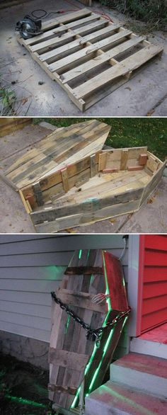 Best 17 Halloween Yard Decorations Made With Recycled Pallets – LazyTries deko sarg Pallet Halloween Coffin Decoration Casa Halloween, Halloween Coffin, Halloween 2019, Halloween Movies, Halloween Halloween, Halloween Outside, Halloween Graveyard, Halloween Activities, Halloween Costumes