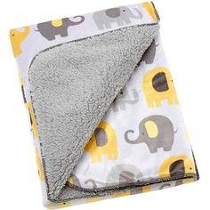 Little Bedding by NoJo Elephant Time Velboa Blanket, Yellow - Walmart.com