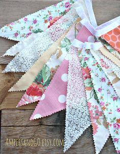 Vintage Fabric Bunting, Fabric Flags, Vintage Pennant Banner, Birthday Party Decor, Cake Smash Photo Prop, Lace Peach Coral Pink & Roses