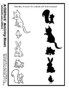 animal shadow match printable