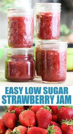 This is a step by step tutorial and a recipe for a low sugar strawberry jam. It's so easy to make, no store-bought pectin and much less sugar than traditional strawberry jam. Low Sugar Strawberry Jam Recipe, Strawberry Preserves, Strawberry Jelly, Fruit Preserves, Jam Recipes, Canning Recipes, Kitchen Recipes, Real Food Recipes, Keto Recipes