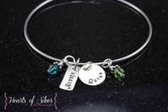 Mommy Bangle Bracelet- Handstamped Jewelry- Sterling Silver Bangle Bracelet- Charm Bracelet