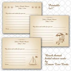 Beach Themed Advice/Wishes Cards for bridal/wedding shower / printable digital file / on Etsy, $7.00