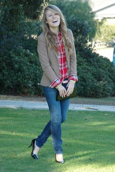 Plaid shirt w/ camel blazer. Cuffs rolled on the outside {I'd pair with flats or booties}