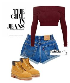 """The Girl in Jeans"" by r-esperanza ❤ liked on Polyvore featuring Timberland, denim, shorts, timberland and thegirlinjeans"