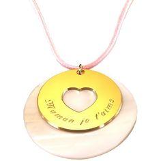 Pendentif Message du coeur (plaqué or et nacre) (Petits Trésors) sur PremierCadeau.com