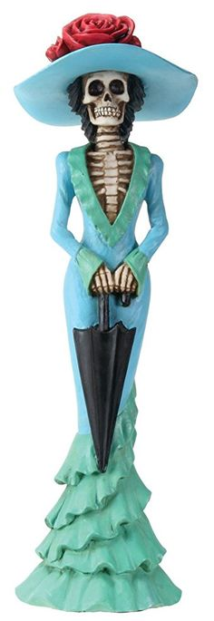 2.75 Inch Day Of The Dead Lady Parasol Skeleton In Teal Dress Figurine http://amzn.to/2BF02IN