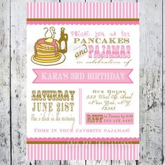 Pancakes and Pajamas Party Invitation  Photo by BigDayInvitations