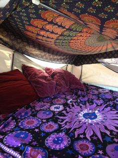 Ready for festival season! When hippies grow up we hang our tapestries in our camping trailer instead of our dorm room.