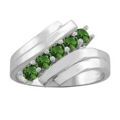 10K White Gold Round 5-stone Mothers Ring (Size 5.5,Emerald), Women's, Green