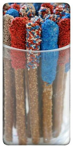 Colorful red, white and blue chocolate covered 4th of July rods. Order individually or create a colorful red white and blue assortment part platters. Add chocolate covered rods,pretzels,minis, oreos, rice crispy treat bits and chocolate covered marshmallows.