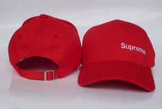 Mens / Womens Unisex Supreme 6 Panel Iconic Supreme Logo Strap Back Baseball Adjustable Cap - Red / White