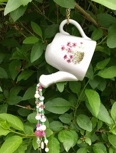 Repurposed Watering Can Mobile Shower Decor Beaded Sun