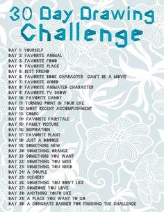30 Day Drawing Challenge-For your creative side... start a sketch book
