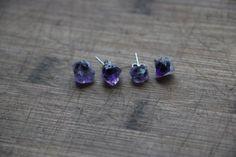 raw amethyst earrings  rough amethyst earring stud  by psajewelry