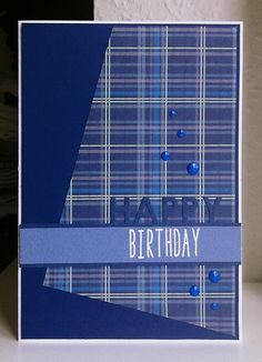 Card happy birthday scripty words and letters plaid paper tartan - JKE