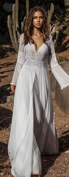 asaf dadush 2018 bridal long lantern sleeves thin strap sweetheart neckline heavily embellished bodice romantic bohemian soft a line wedding dress sweep train (1) mv lv -- Asaf Dadush 2018 Wedding Dresses #wedding #bridal #weddings