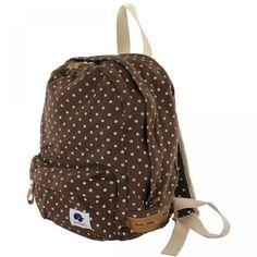 SUNAMELi(スナメリ) washed canvas polka-dot daypack(ウォッシュ加工キャンバスポルカドットデイパック) ダークブラウン 7140yen 可愛く行こう♪小さく丸いフォルムが愛らしいドット柄デイパック!