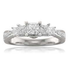 14k White Gold 5-Stone Princess-cut & Round Diamond Engagement Ring (1 cttw, H-I, I1-I2)
