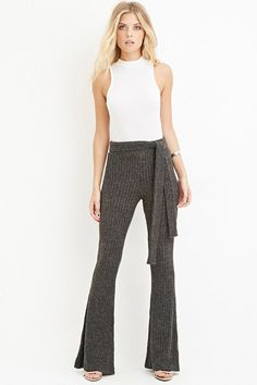 Belted Flare Pants - Trousers + Leggings - 2000145191 - Forever 21 EU English