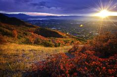 The sun sets over Utah Valley in autumn. Beautiful colors - fall leaves - #provo #lds