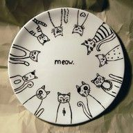 "cats...cool pattern for sharpies on a plate!  Baked in oven to set. Bonnie black, you need this!!"" data-componentType=""MODAL_PIN"
