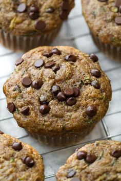 Flourless chocolate chip zucchini banana muffins that are so tender and flavourful, you'd never know they were made without flour, oil, or refined sugar.
