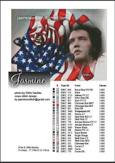 elvis presley and American flag (in a rose figure)  free cross stitch pattern  photo art by Riitta Sauhke  gratis to download
