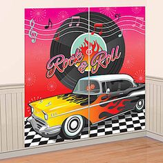 This light-weight plastic 50's Scene Setter includes two pieces that combine to make one giant 65 inch x 65 inch background.  Just attach to the wall with tape.