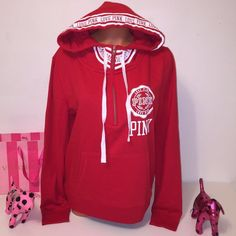NEW PINK VS DEEP ZIP HOODED SWEATSHIRT PINK VICTORIA'S SECRET DEEP ZIP HOODED DEEP ZIP HOODED SWEATER WITH DRAWSTRINGS AND POCKETS, LOGO ALL AROUND THE HOODIE AND FUNEL NECK! GORGEOUS PIECE!!!  COLOR RED SIZE L  FASTSHIPPING!!!  Check out my other items! I am sure you will find something that you will love it! Thank you for watch!!!!! Be sure to add me to your favorites list! PINK Victoria's Secret Tops Sweatshirts & Hoodies