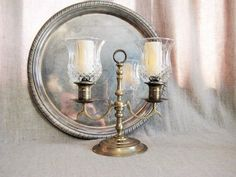 Brass Candelabra with Pretty Votive Holders for by dewdropdaisies