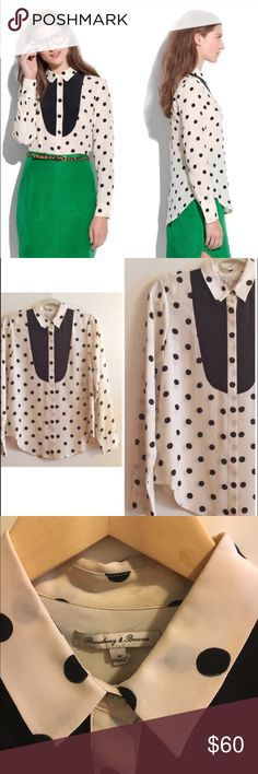 Madewell Dotted Tux Shirt Cream and black silk polka dotted tux style blouse. Like new, only worn once! Perfect condition. 100% silk. Dress it up with a pencil skirt, or go casual with jeans and a cardi. Madewell Tops
