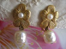 Faux Pearl Floral Haskell Earrings