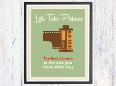 Retro Poster Lets Take Pictures Retro Art Print 80s by LooveMyArt