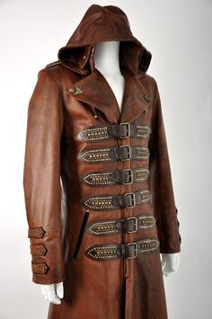 Impero London New Steampunk Antique Tan Mens Hooded Leather Coat | eBay